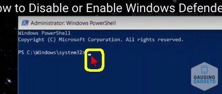 Disable Windows Defender Tutorial Blinking Line