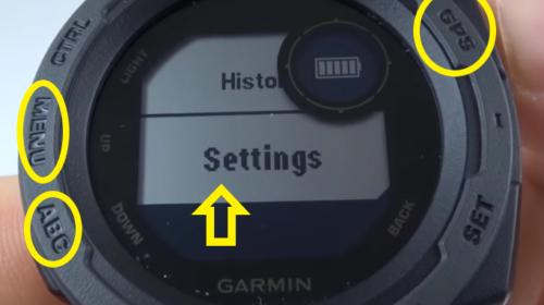 Garmin Instinct Factory Reset Tutorial Menu Button