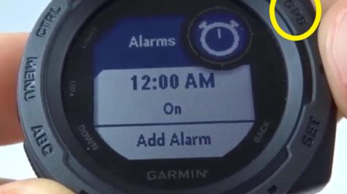 Garmin Instinct Set Alarms Options