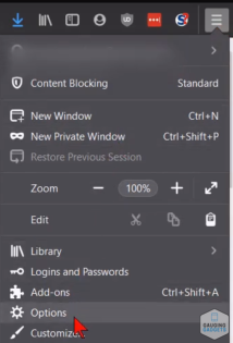 How to swtich default browser in firefox menu - options button